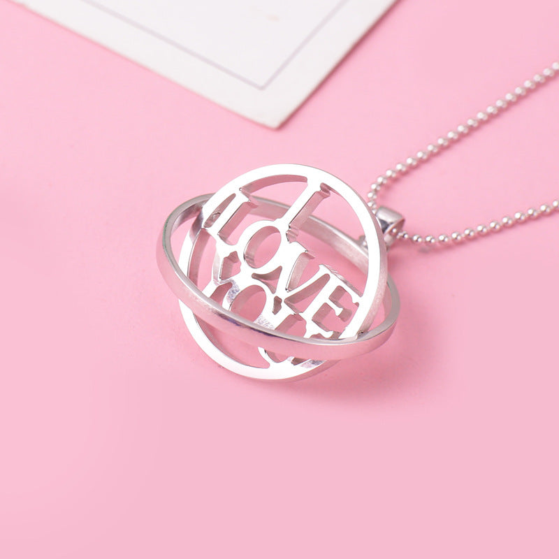 Personalized Rotatable Ring Necklace in Sterling Silver
