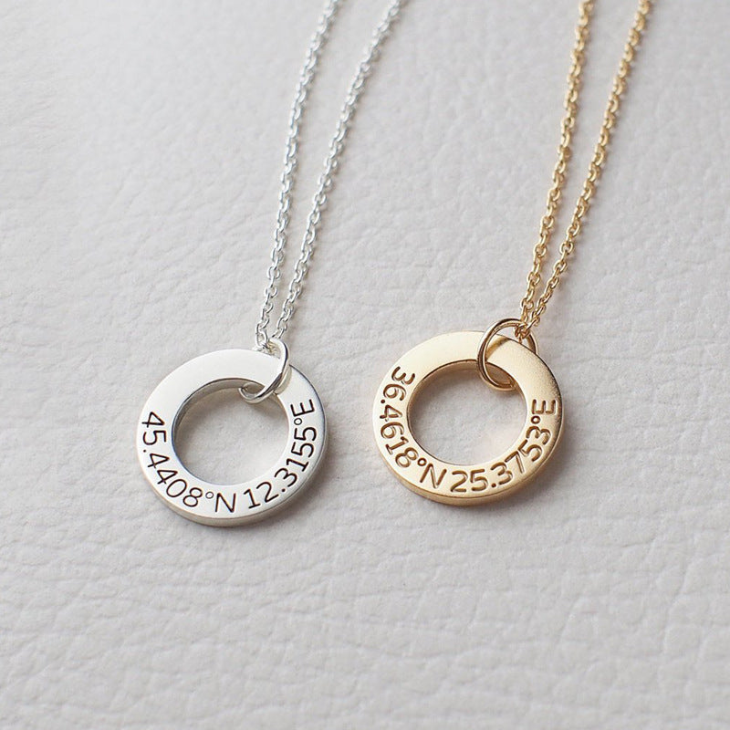 Engraved Ring Necklace in Sterling Silver