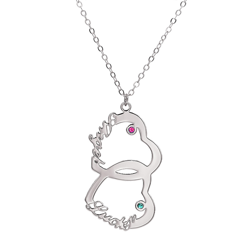 Personalized Two Name Love Necklace with Double Hearts and Birthstones in Sterling Silver