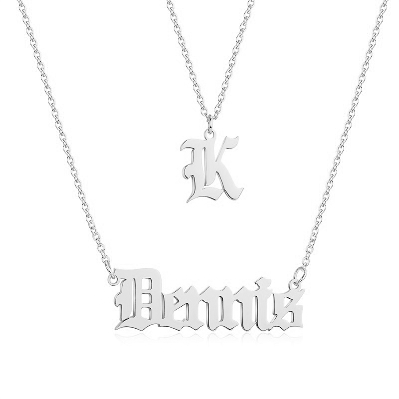 Personalized 2-layer Name Necklace with Initial in Sterling Silver