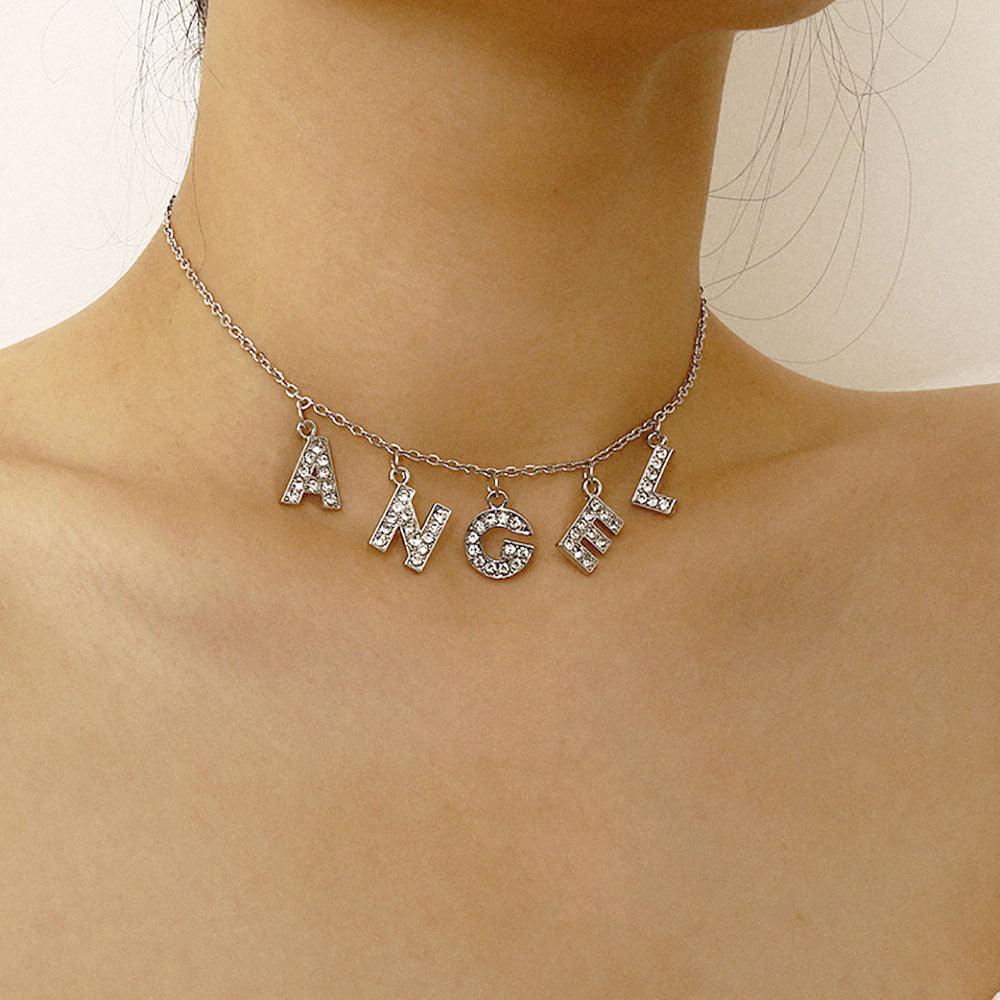 Personalized Iced Name Choker in Sterling Silver