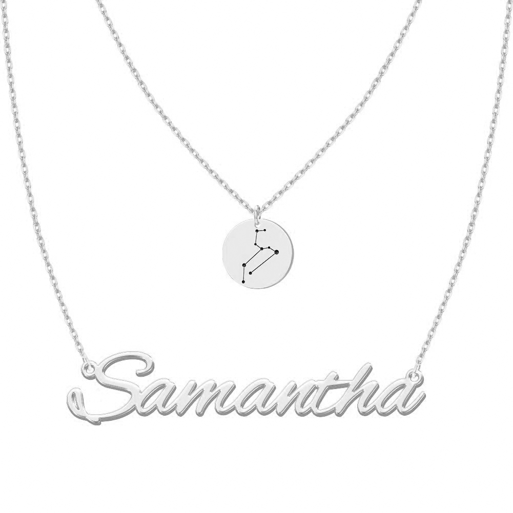 Personalized Constellation Necklace Double Layers in Sterling Silver