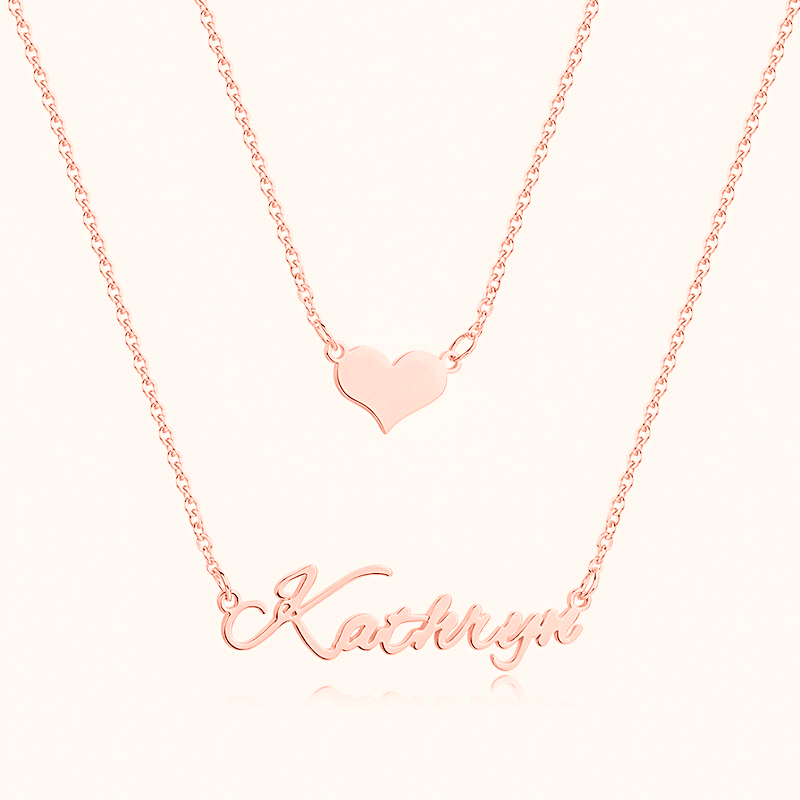 Personalized Name Necklace Double Layers with Heart in Sterling Silver