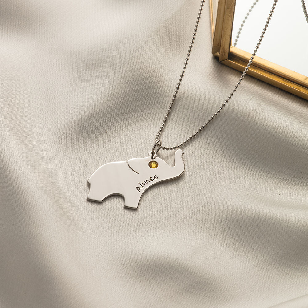 Baby Elephant Necklace with Personalized Engraving and Birthstone