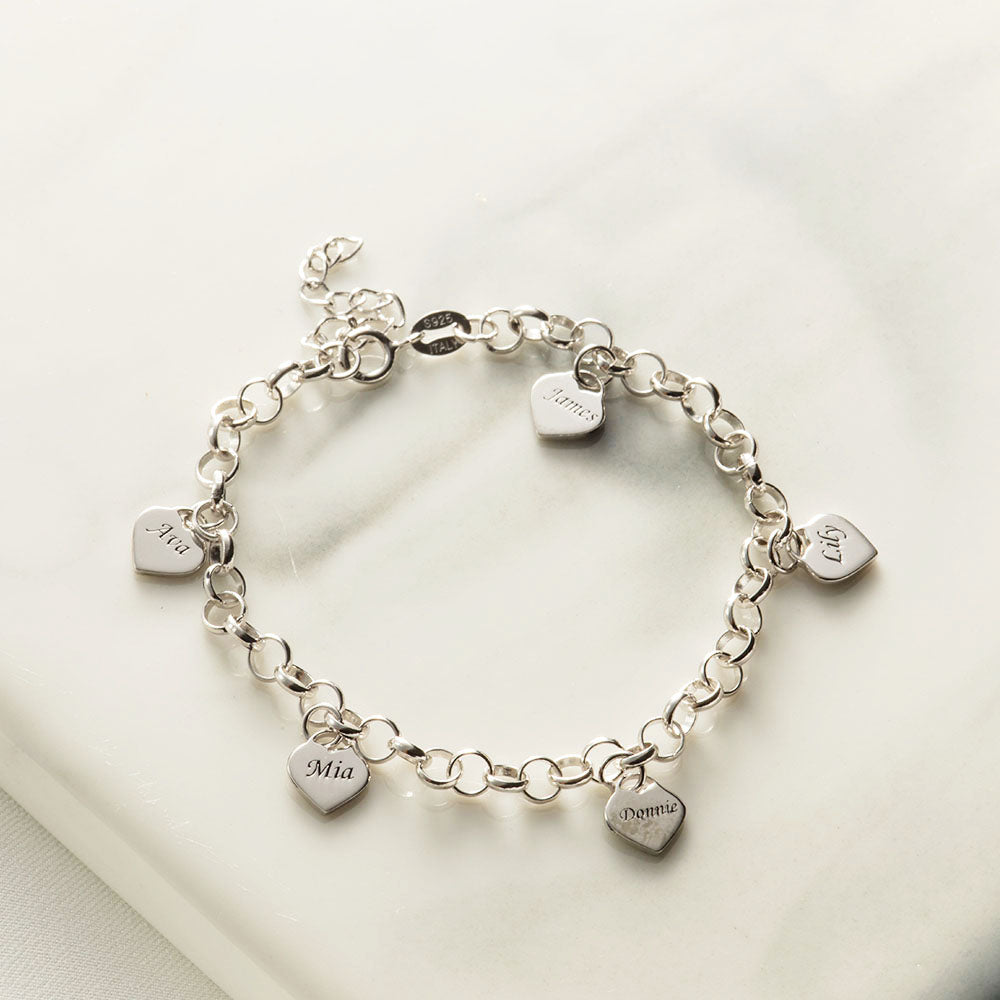 Engraved Heart Charms Link Bracelet in Sterling Silver