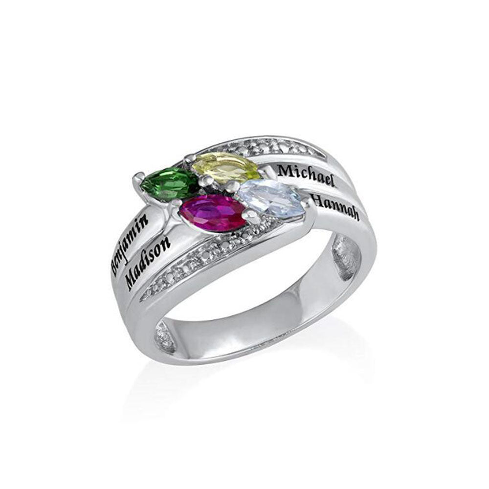 Mother Ring with Birthstones in Sterling Silver