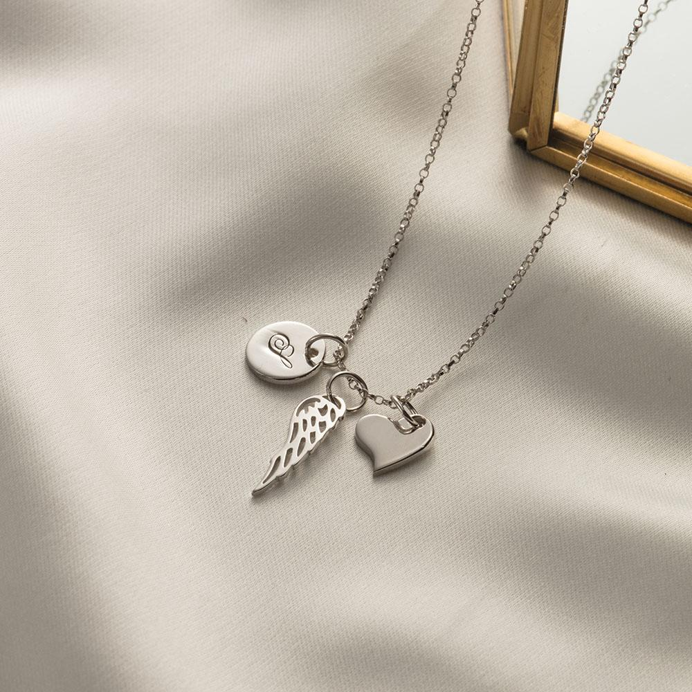 Mother Wing Heart Necklace with Personalized Initial Charm
