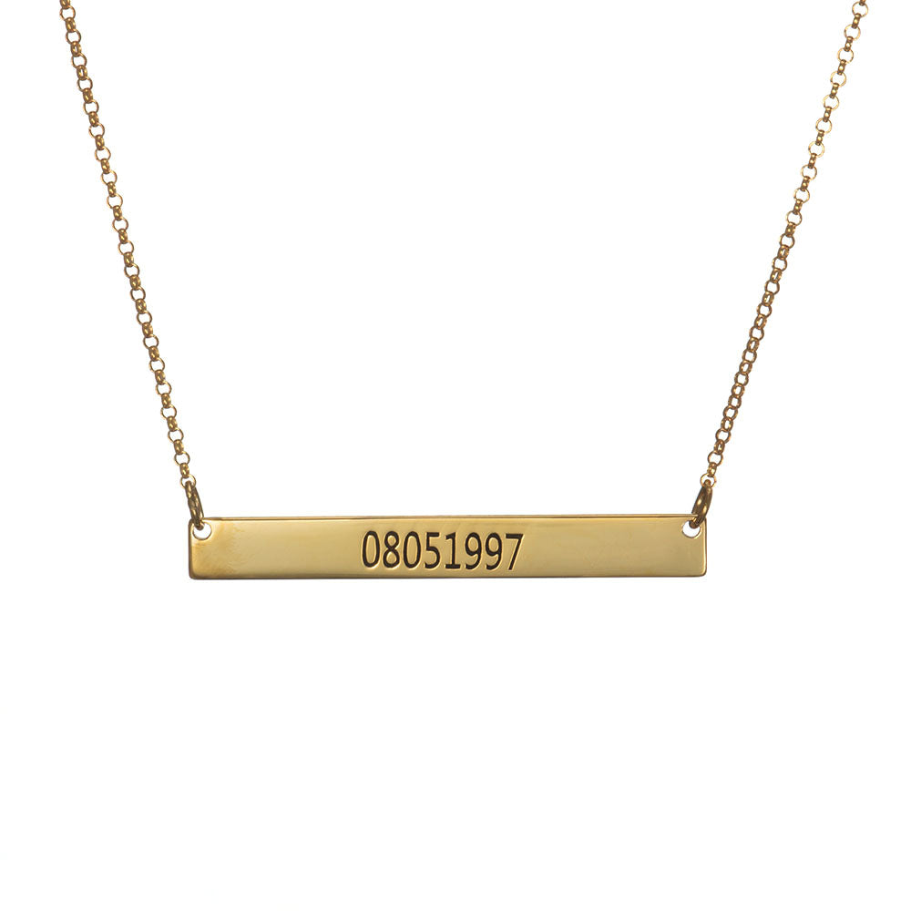 Personalized Engraved Number Bar Necklace in Sterling Silver