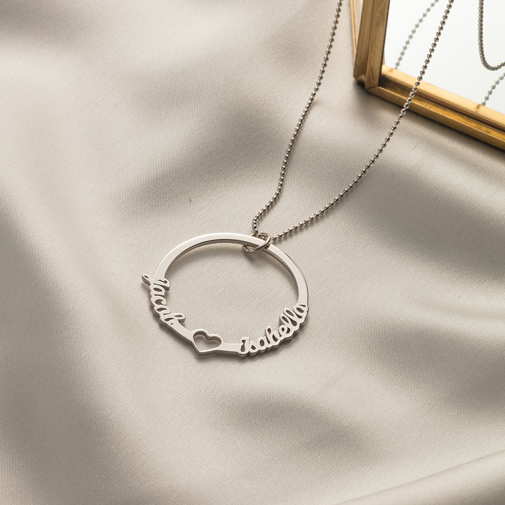 Personalized Love Circle Necklace with Two Names in Sterling Silver