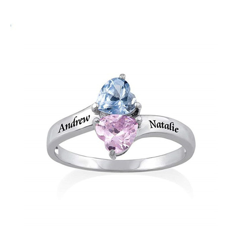 Personalized Love Ring with Heart Shape Birthstones
