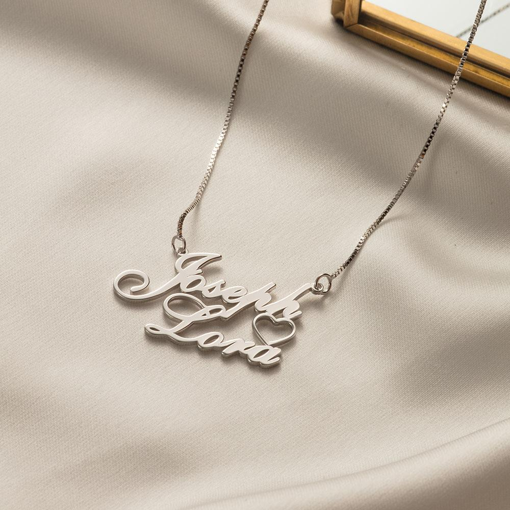 Personalized Side Heart Two Name Necklace