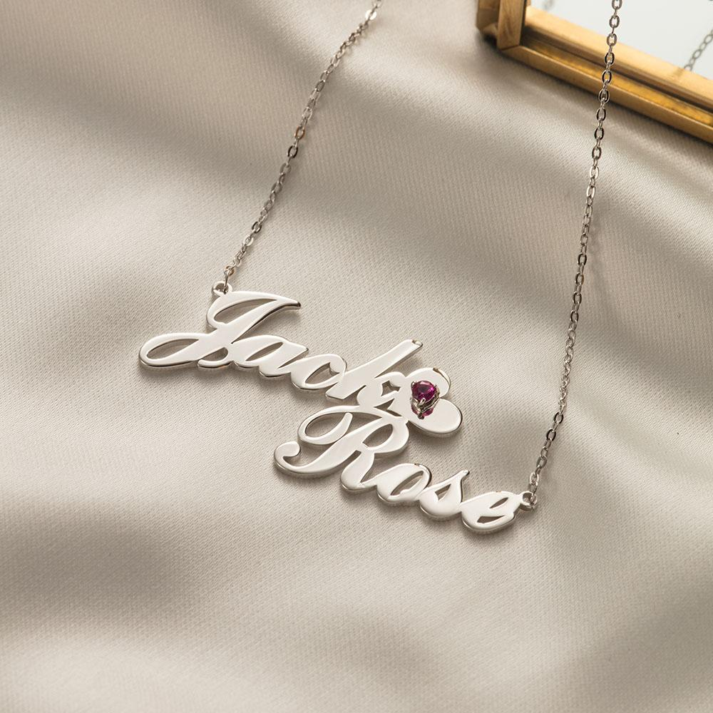 Personalized Two Name Necklace with Crystal on Heart