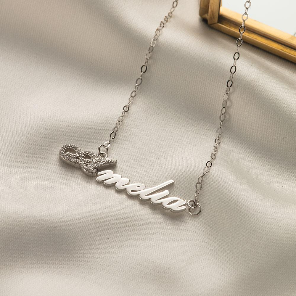 Personalized Zircon Initial Name Necklace in Sterling Silver
