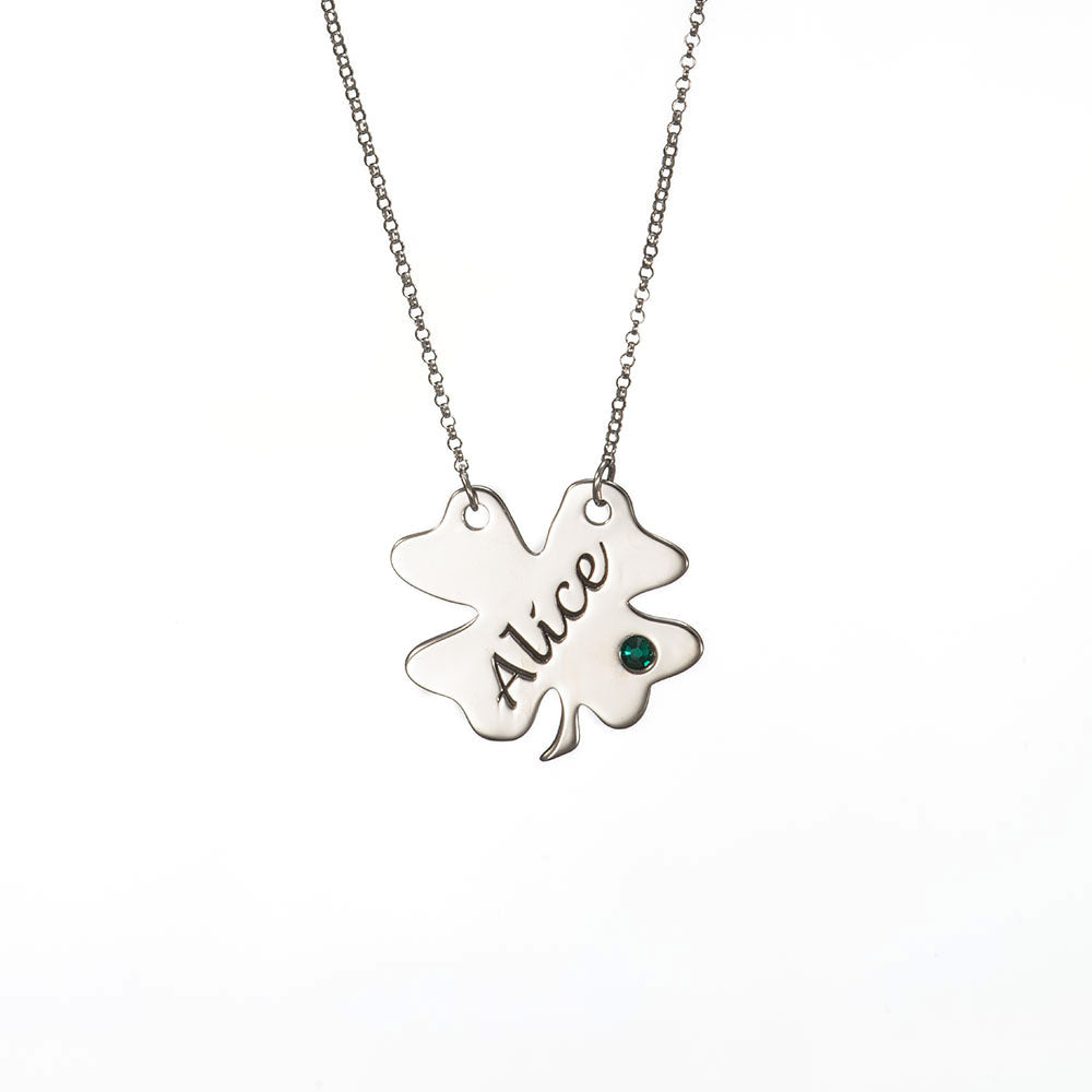 Sterling Silver Engraved Four Leaf Clover Necklace with Birthstone