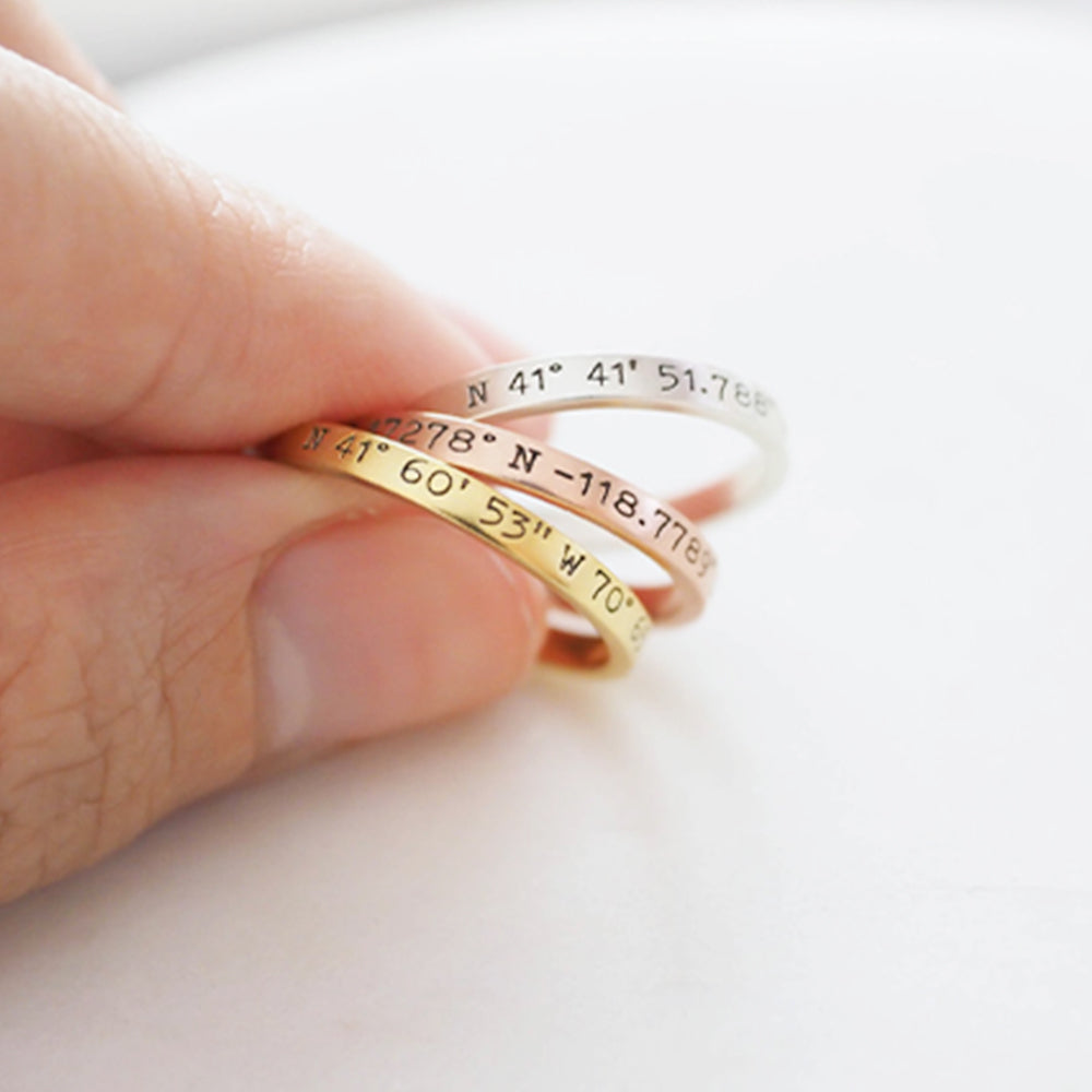Engraved Coordinates Ring in Sterling Silver