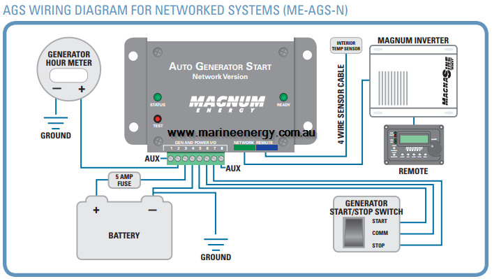 AUTO GEN STARTER MODULE - NETWORKED AGS-N Magnum Battery Monitor Wiring Diagram on
