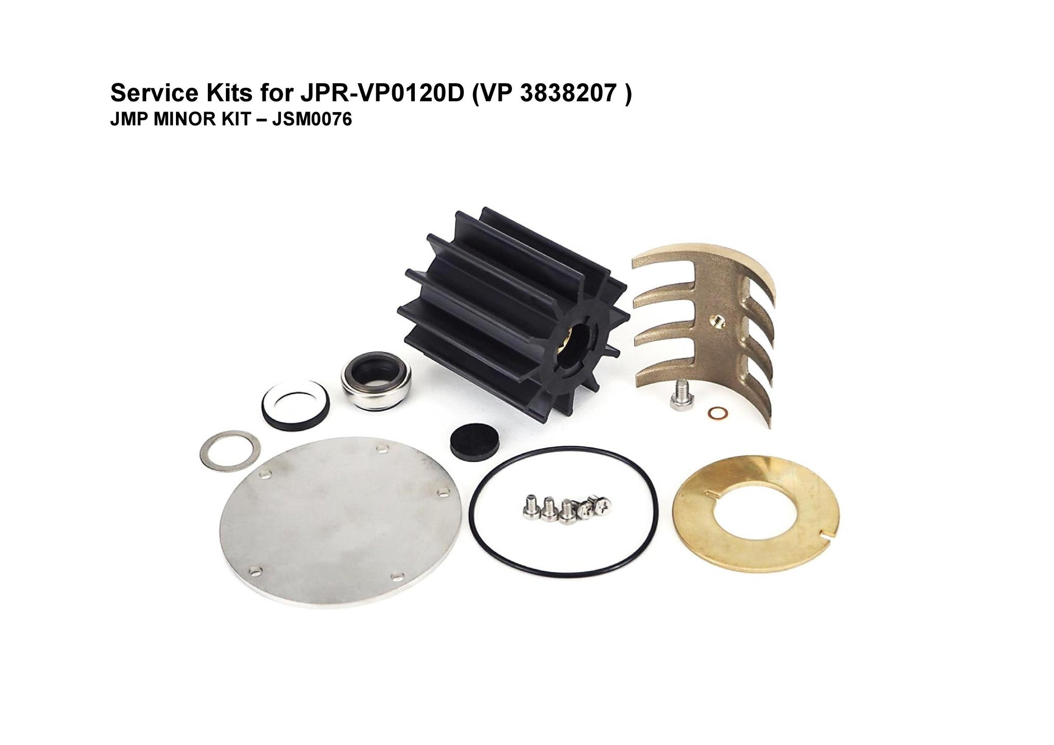 JSM0076 - Minor service Kit for Volvo Penta D12/13/16 Engines seawater pumps (Fits Volvo Penta Engines: D12C/D)