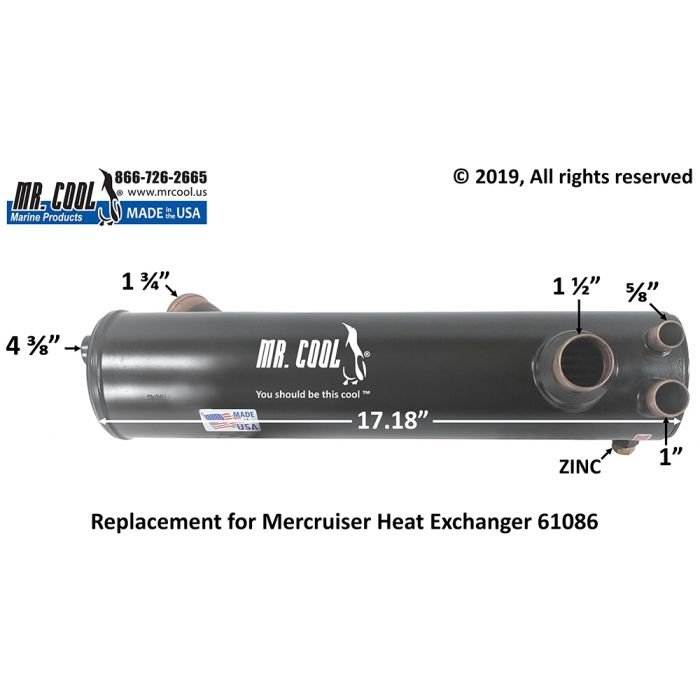 Mercruiser 3.0L Heat Exchanger 61086A7 Replacement