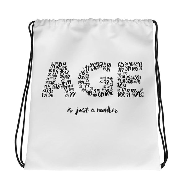 AGE is just a number | Drawstring bag -  - Kempo24 giftidea you can buy in our online shop. We sell unisex man tshirts, women tee, teapots, trendy women tops and other homegoods, accessoires and fashion that is unique, funky, beautiful, unusual, cool or however you want to call it. Find the perfect gift for him or her or yourself.