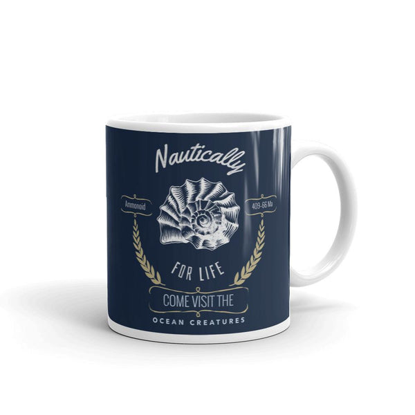 Ammonoid | Nautically Series | Mug -  - Kempo24 giftidea you can buy in our online shop. We sell unisex man tshirts, women tee, teapots, trendy women tops and other homegoods, accessoires and fashion that is unique, funky, beautiful, unusual, cool or however you want to call it. Find the perfect gift for him or her or yourself.