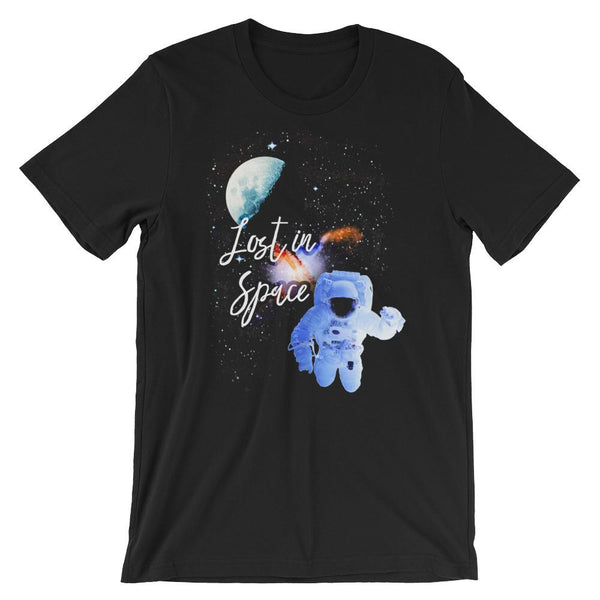 Lost in Space | Short Sleeve Unisex T-Shirt -  - Kempo24 giftidea you can buy in our online shop. We sell unisex man tshirts, women tee, teapots, trendy women tops and other homegoods, accessoires and fashion that is unique, funky, beautiful, unusual, cool or however you want to call it. Find the perfect gift for him or her or yourself.