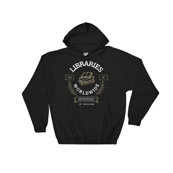 Libraries Worldwide | Hooded Sweatshirt -  - Kempo24 giftidea you can buy in our online shop. We sell unisex man tshirts, women tee, teapots, trendy women tops and other homegoods, accessoires and fashion that is unique, funky, beautiful, unusual, cool or however you want to call it. Find the perfect gift for him or her or yourself.