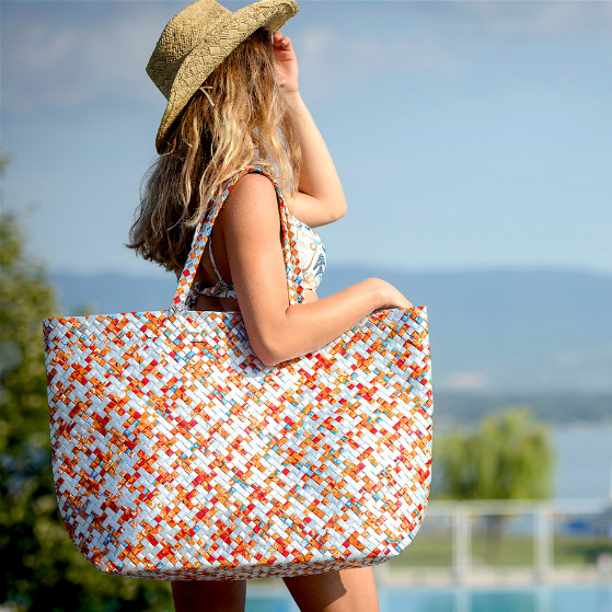 Beach Bag XL - Terracotta Stripes - AgentSpécial