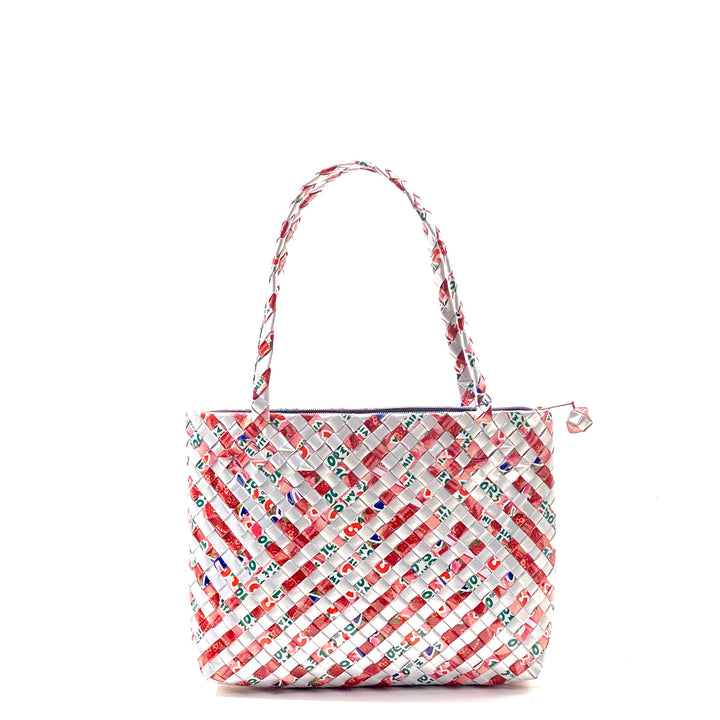 Small hand or shoulder Bag with zip - Pomegranate Stripes