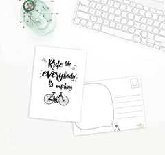 Inspire motivate ride bike cycle A6 postcard greeting card quote
