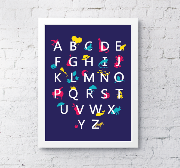 Alphabet illustrated - blue