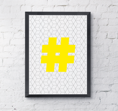 Geometric letter hashtag typography wallart poster art print uk neon yellow social media addict
