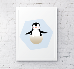 Hatching Penguin egg cute nursery decor cute wallart poster print