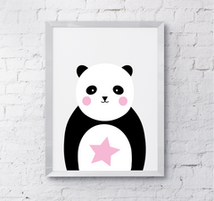 Nursery playroom cute panda star wall print pink