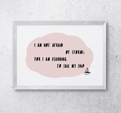 Nursery playroom interior decor Wall quote art print learning to sail pastel pink