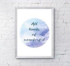Motivational watercolour inspirational wall quote art print