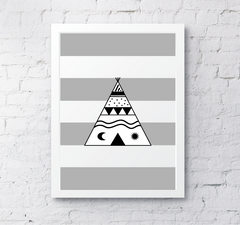 Childrens teepee tipee tepee stripes grey nursery art decor wall print