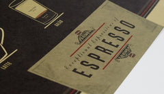 Vintage expresso coffee guide kraft paper wall art poster print