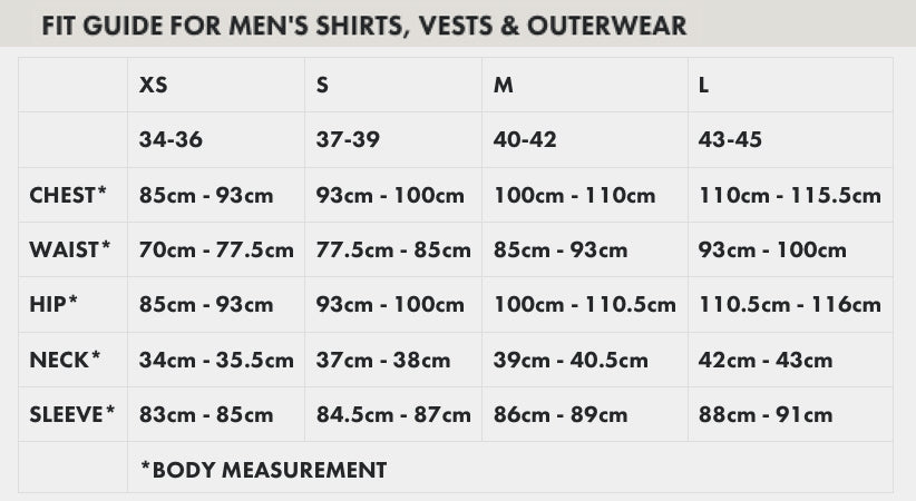filson mens clothing size guide