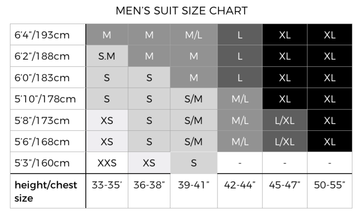 Red7SkiWear Mens Size Chart