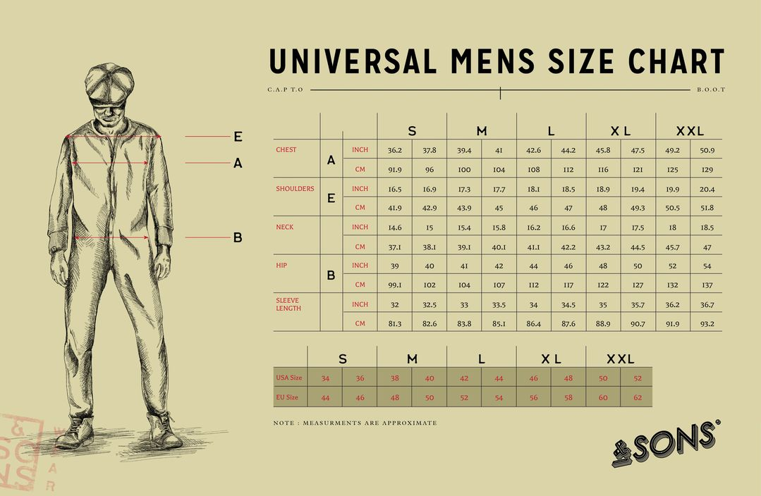 &SONS Carver Jacket Size Guide