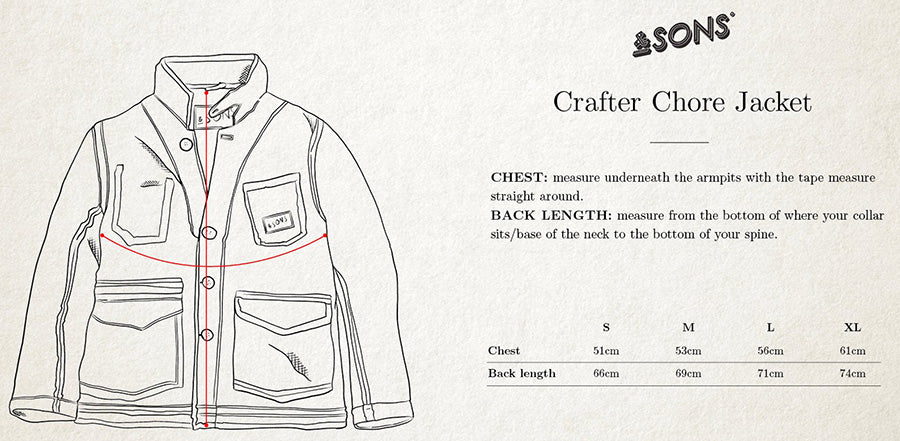 &SONS Crafter Chore Jacket size giude