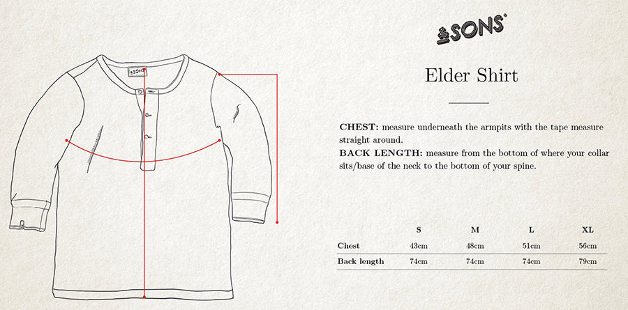 &SONS Elder Grandad Short Sleeve Top size guide