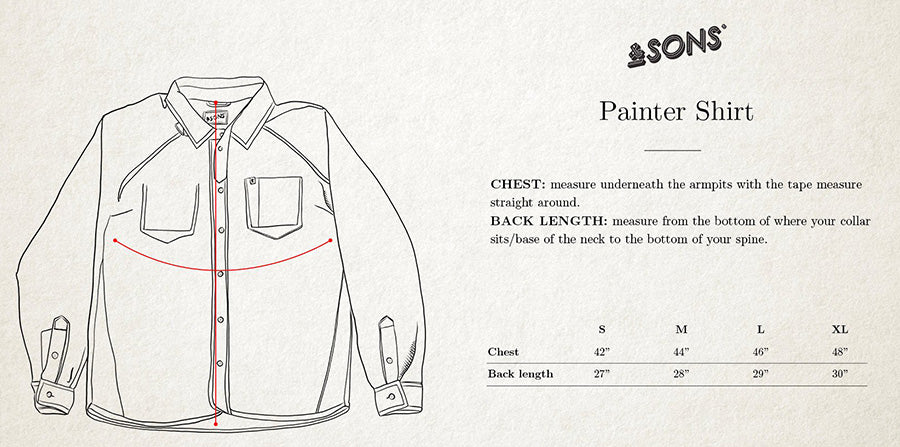 &SONS Painter Chambray Shirt size guide