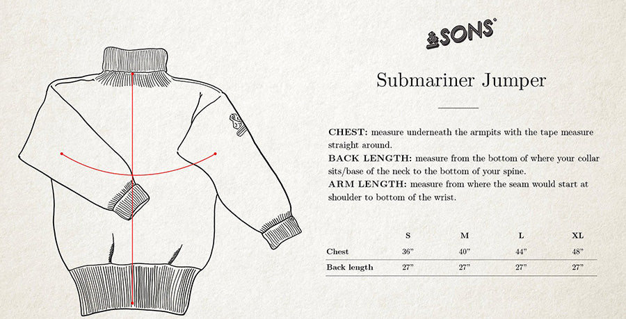 &SONS Submariner Jumper size guide