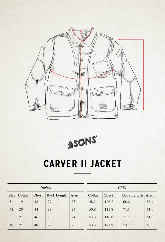 &SONS Carver II Jacket Size Guide