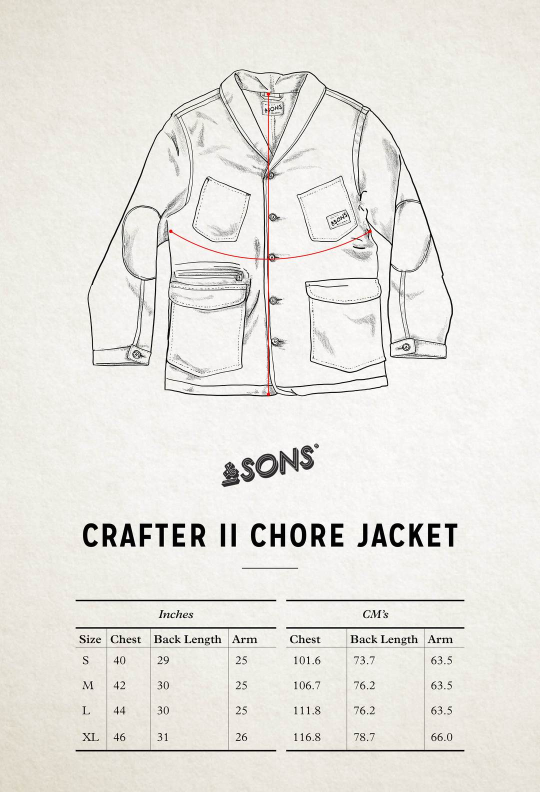 &SONS Crafter II Chore Jacket Size Chart
