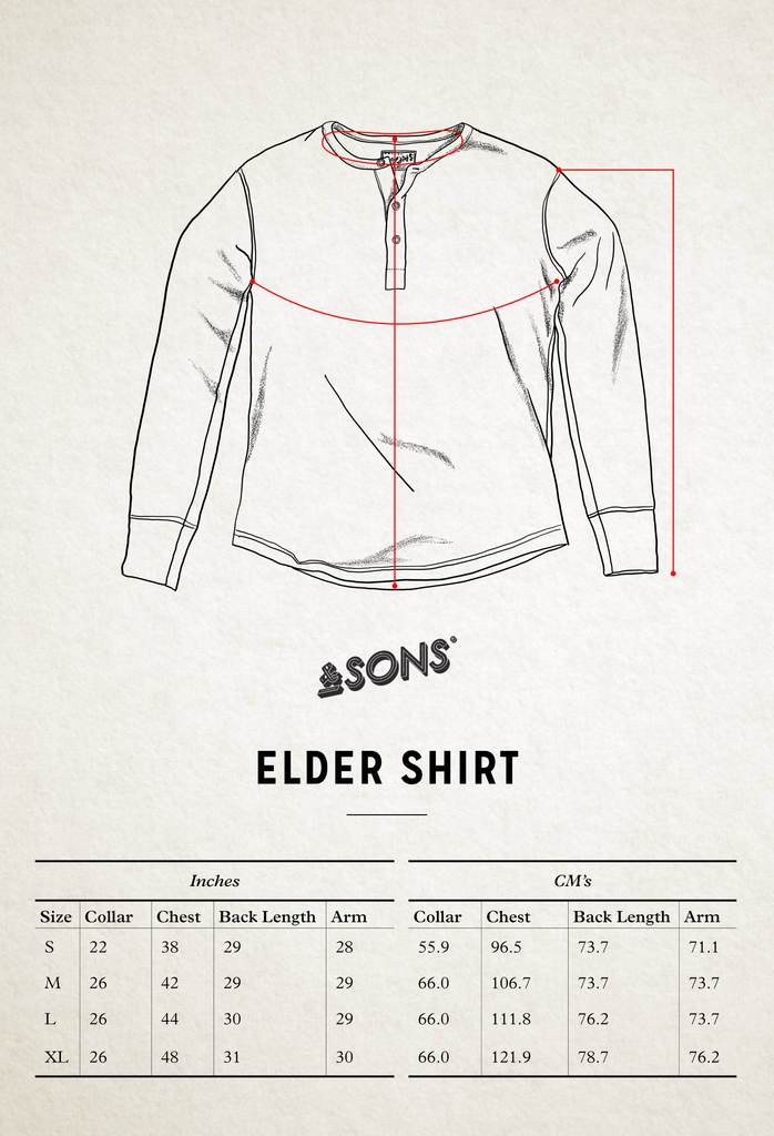 &SONS Elder Grandad Top Size Guide