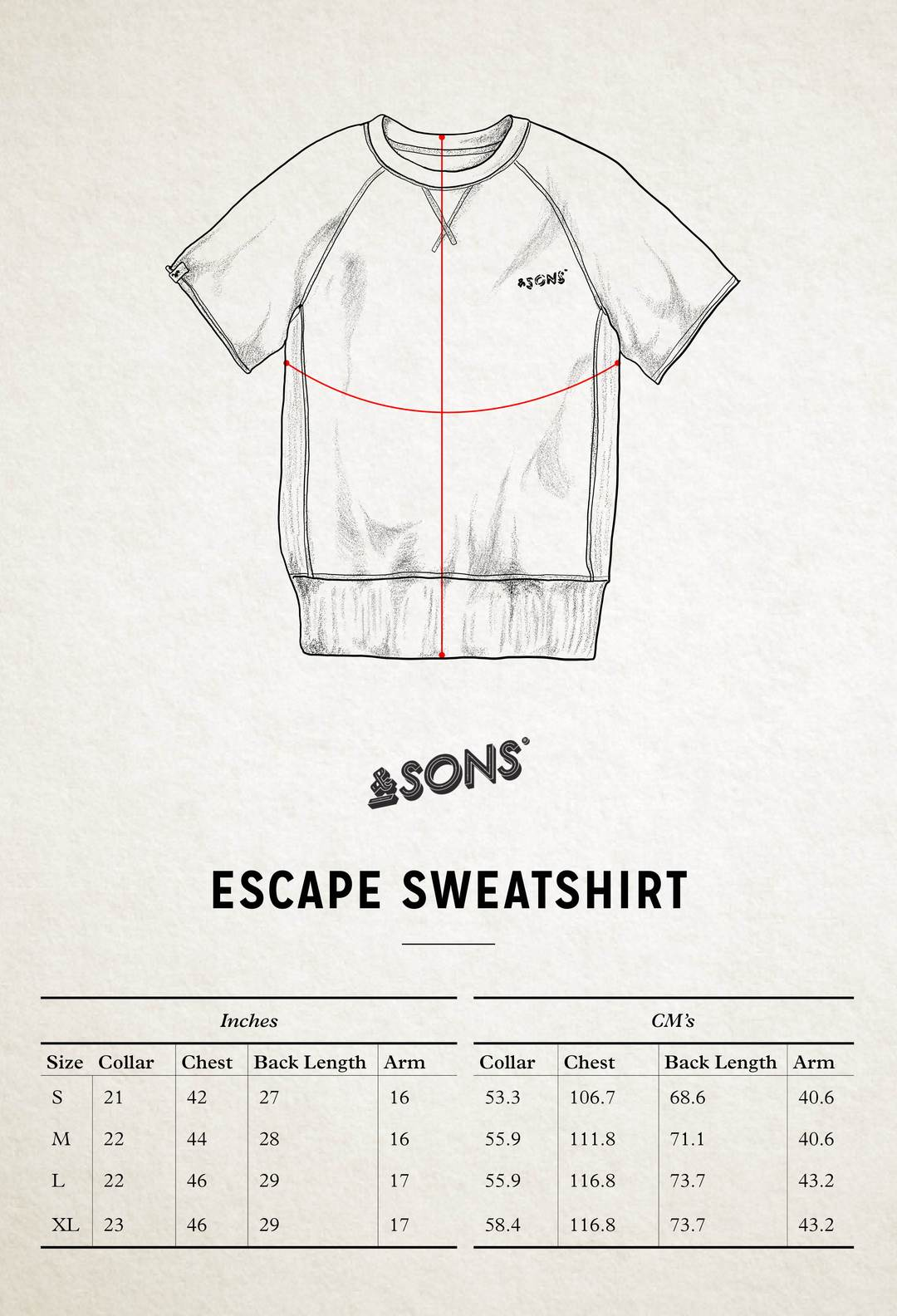 &SONS Escape Sweatshirt size guide