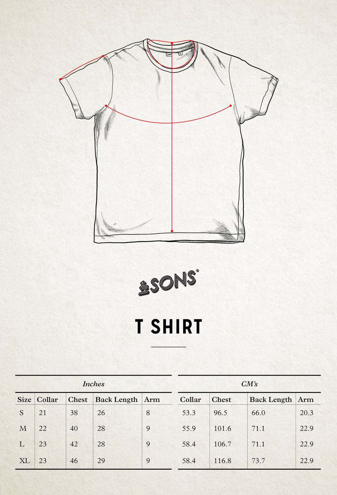 &SONS Men's Logo T-Shirt - Size Guide