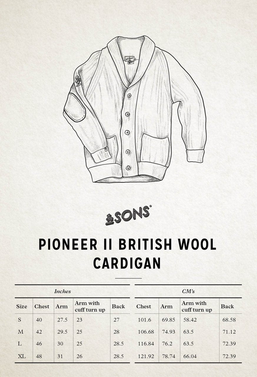 &SONS Pioneer II British Wool Cardigan Size Chart